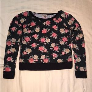Tops - black and pink floral long sleeve